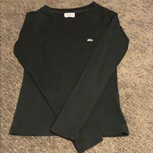 Black Long Sleeve Lacoste T Shirt